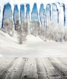 Winter scenery with wooden planks Stock Photos
