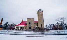 Winter scenes near mackinac bridge and mackinsw city michigan Royalty Free Stock Photos