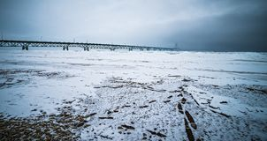 Winter scenes near mackinac bridge and mackinsw city michigan Royalty Free Stock Photography