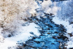 Winter Scenes River in Austria Royalty Free Stock Photography