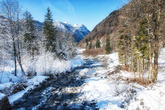 Winter Scenes River in Austria Royalty Free Stock Images