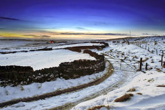 Winter Scenic. Winter Scene with snow and farm. Taken at Yorkshire, England Stock Photo