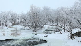 Winter scenic of the River Krynka, Donetsk region, Ukraine. Royalty Free Stock Image