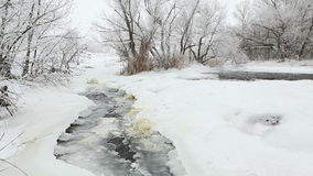 Winter scenic of the River Krynka, Donetsk region, Ukraine. stock footage