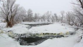 Winter scenic of the River Krynka, Donetsk region, Ukraine. stock video footage