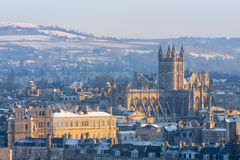 Bath Abbey in the snow Stock Photo