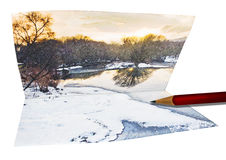Winter Scenic Sketch. Colorful Winter landscape with snow and ice. Sketch folded on Card with drawing pencil Royalty Free Stock Photo