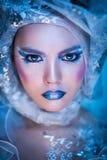Winter-Schönheits-Frau Weihnachtsmädchen-Make-up Lizenzfreie Stockbilder