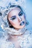 Winter-Schönheits-Frau Weihnachtsmädchen-Make-up Lizenzfreies Stockbild