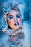 Winter-Schönheits-Frau Weihnachtsmädchen-Make-up Lizenzfreie Stockfotografie
