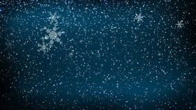 Winter-Schnee, der auf Blau fällt stock abbildung