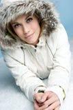 Winter-Schnee-Frau Stockfoto