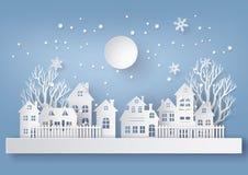 Winter-Schnee-städtisches Landschafts-Landschaftsstadt-Dorf mit ful lm vektor abbildung