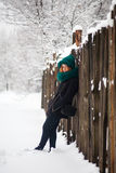 Winter, Schnee und Mädchen Stockfotos