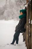 Winter, Schnee und Mädchen Stockbild