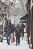 2017-Winter-Schneewinter streetsczpe Stockfoto