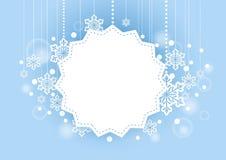 Winter-schöner Hintergrund mit dem Schnee-Flocken-Hängen und Leerraum für Wörter Stockbild
