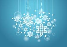Winter-schöner Hintergrund mit den Schnee-Flocken, die Muster hängen Stockbilder
