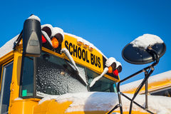 Winter School Buses Royalty Free Stock Image