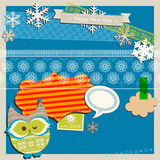Winter scrapbook template Royalty Free Stock Photography