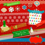Winter scrapbook template. Winter elements, colorful scrapbook template Royalty Free Stock Images