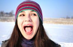 Winter Screaming girl  Stock Images