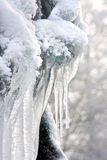 Winter sculpture. Freezing winter sculpture of white icicles covered in snow Royalty Free Stock Image