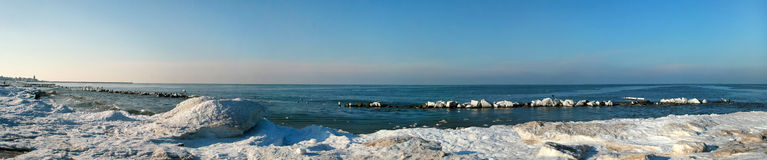 Winter sea. Winter at the seaside - the beach in the snow Stock Photos
