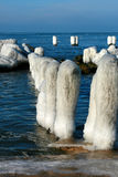 Winter sea. Breakwater icy sea - in winter over the Baltic sea Royalty Free Stock Photos