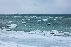 Winter sea, baltic sea. Winter Baltic sea coast in the evening at Tallinn Stock Photos