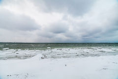 Winter sea, baltic sea. Winter Baltic sea coast in the evening at Tallinn Royalty Free Stock Image