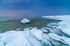 Winter sea, baltic sea. Winter Baltic sea coast in the evening at Tallinn Royalty Free Stock Photography