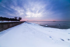 Winter sea coast. In Tallinn, Baltic sea stock photography