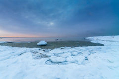Winter sea coast. In Tallinn, Baltic sea Royalty Free Stock Images