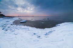 Winter sea coast. In Tallinn, Baltic sea Royalty Free Stock Photos