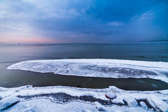 Winter sea coast. In Tallinn, Baltic sea Stock Photography