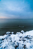 Winter sea coast. In Tallinn, Baltic sea Royalty Free Stock Image