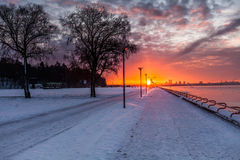 Winter sea coast. In Tallinn at Pirita Promenaad, Baltic sea Stock Photography