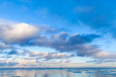 Winter Sea coastal landscape with cloudy sky Royalty Free Stock Photos