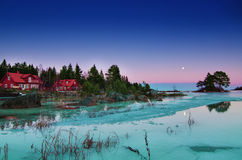 Winter sea landscape with moon Stock Photography