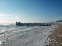 The winter sea. Stroll. The sea in winter. Two on the dock stock photography