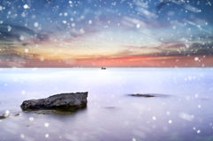 Winter sea at sunset Royalty Free Stock Images