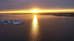 Winter at sea in Sweden. Drone footage stock video footage
