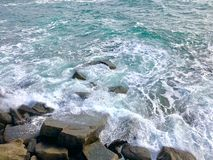 The winter sea wave beat against the rocks stock image