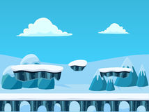 Winter Seamless Background with Bridge for Platform Games.  Stock Photo
