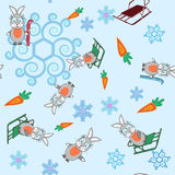 Winter seamless background bunny and sleigh snowflakes Stock Photo