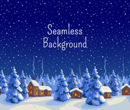 Winter seamless background. With fir forest and houses. Greeting card template. New year and Xmas Holidays design. Vector illustration Royalty Free Stock Photography