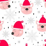 Winter seamless background with pigs stock photography
