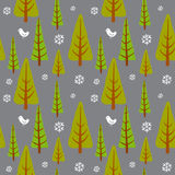 Winter seamless background. With pine trees in the forest Stock Images