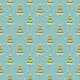 Winter seamless background. With pine trees in the forest Royalty Free Stock Photos